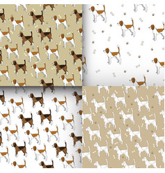 set of seamless pattern with cute dog breed beagle vector image