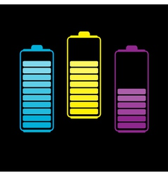 Set of three colorful batteries vector