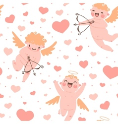 Valentines day romantic seamless pattern with cute vector