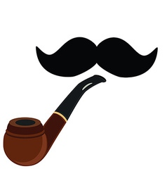 Smoking pipe and mustache vector