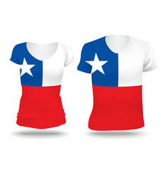 Flag shirt design of chile vector