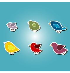Color icons with different birds vector