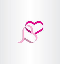 Heart ribbon design element vector