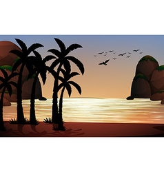 Silhouette scene of the beach vector image