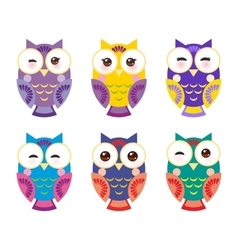 Set bright colorful owls on white background vector