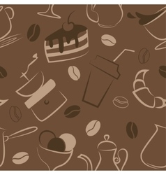 Seamless pattern with coffee signs vector