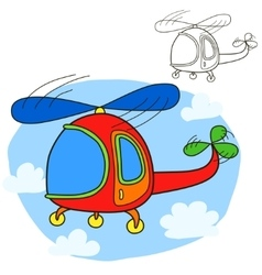 Helicopter coloring book page vector