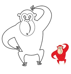 Monkey coloring book red monkey makes surprise vector