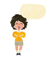 Cartoon screaming woman with speech bubble vector