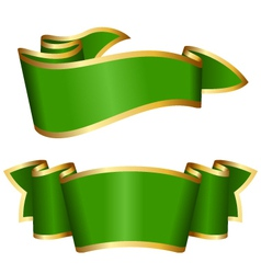 Green ribbon collection vector