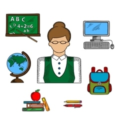 School teacher profession and education icons vector