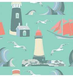 Lighthouse seaside pattern vector