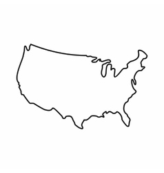 USA map icon outline style vector image