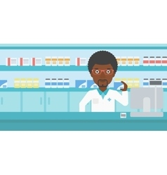 Pharmacist showing some medicine vector image