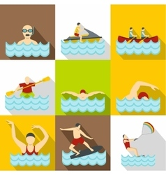 Active water sport icons set flat style vector