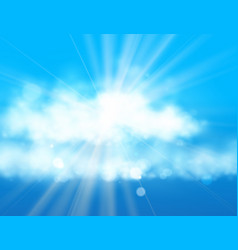 Blue sky and sun realistic blur design with burst vector