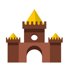 Brown castle icon flat style vector
