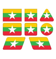 buttons with flag of Burma vector image
