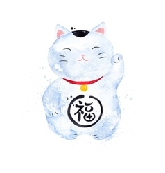 Chinese symbols lucky cat vector
