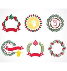 christmas wreaths vector image vector image