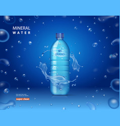 drinking mineral water bottle ad blue background vector image vector image