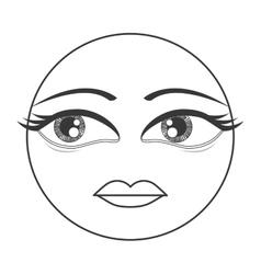 Femenine face emoticon icon vector