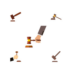 flat icon court set of tribunal court law and vector image vector image