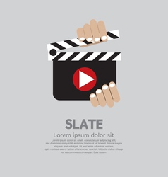 Hand Holding A Slate vector image