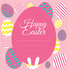 Happy easter card template with pink background vector