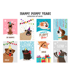 Happy new year puppy cards vector