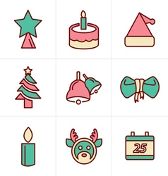 Icons Style Icons set Christmas Design vector image vector image