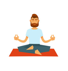 man practising yoga and sitting in lotus position vector image