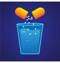 Pill and a Glass of Water vector image vector image