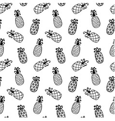 Pineapples seamless pattern isolated on white vector