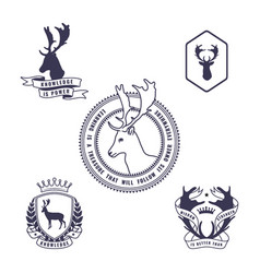 set of deer emblem vector image