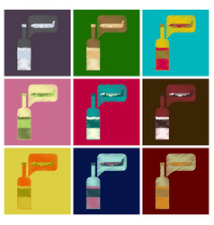 Set of flat icons in shading style airplanewine vector