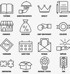 Set of linear franchise icons franchise as a vector