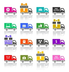 Set of truck colored icons vector