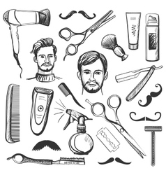 Set of vintage barber shop elements vector image