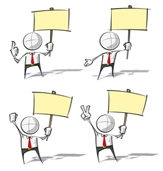 Simple business people holding a placard vector