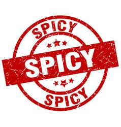 Spicy round red grunge stamp vector