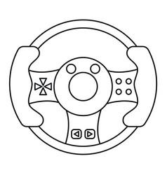Steering wheel video game thin line vector