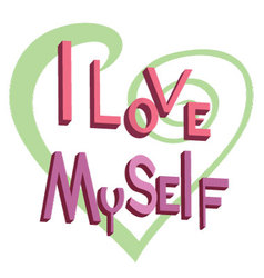 Text i love myself vector