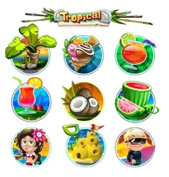 Tropical set of different items vector image vector image