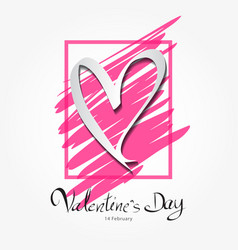 Valentines day lettering on pink frame vector