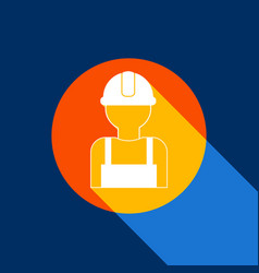 Worker sign white icon on tangelo circle vector