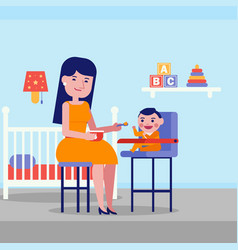 young caucasian white mother feeding her baby vector image