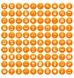 100 glasses icons set orange vector image vector image