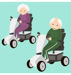 Senior lady and man on a mobility scooter elderly vector
