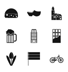 Holiday in holland icons set simple style vector